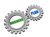 businessplan in zilveren grijze toestellen Stock Afbeeldingen