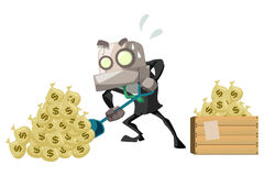 BusinessRobot_dig money Royalty Free Stock Photography