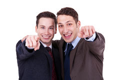 Businesss men pointing to you stock photos