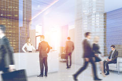 Businesss people near reception, side, toned Stock Image