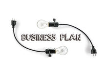 Businesss plan  phrase and light bulb, hand writing, Marketing s Royalty Free Stock Image