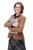 Businesss Woman Holding Laptop Royalty Free Stock Image