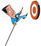Businesssman jumping to get targets Stock Photo