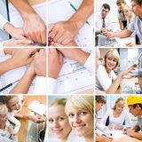 Businessteam. Collage of photos from the business team of successful engineers working in the office stock photography