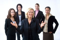 Businessteam. Business woman is presenting her successful business team Royalty Free Stock Photos