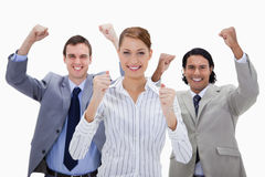 Businessteam with arms raised Royalty Free Stock Photography