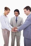 Businessteam che incoraggia in su Immagine Stock