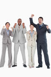 Businessteam cheering together Stock Photography