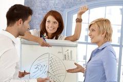 Businessteam, das Diagramm behandelt Stockfoto