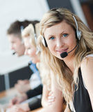 Businessteam headphones Royalty Free Stock Photo