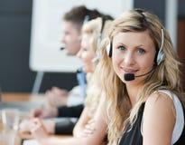 Businessteam headphones Royalty Free Stock Image