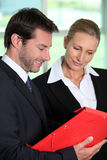 Businessteam looking at folder Stock Images