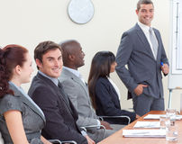 Businessteam in a meeting listening to a colleague Royalty Free Stock Photo