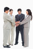 Businessteam performing self motivation ritual Royalty Free Stock Photo