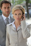Businessteam on the phone outside Stock Image