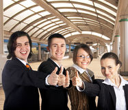 Businessteam on railway station Stock Images