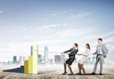 Businessteam working in collaboration making diagram grow and progress Stock Photo