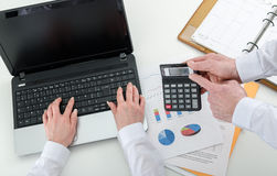 Businessteam working on financial results Royalty Free Stock Photography