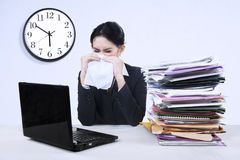 Businesswoma having flu Stock Image