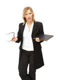 Businesswoman. Portrait of the business women(woman) with document, studio shot Royalty Free Stock Photography