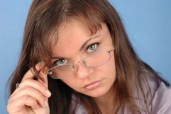 Businesswoman. With glasses Stock Images