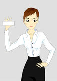 Businesswoman. Isolated woman with business card royalty free illustration