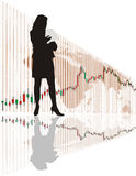 Businesswoman. From the global graph, illustration Royalty Free Stock Photo