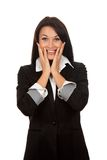Businesswoman. Attractive surprised excited smile business woman, isolated royalty free stock photo