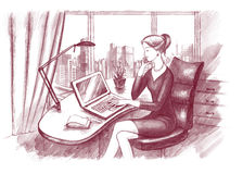 Businesswoman. With notebook in the office Royalty Free Stock Image