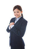 Businesswoman. The young businesswoman who is pleased Royalty Free Stock Photos