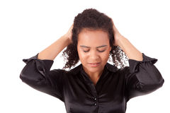 Businesswoman. Sad young businesswoman with hands on her head Royalty Free Stock Images