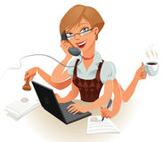 Businesswoman. The secretary can easily handle several things at the same time. Work on the computer, talk on the phone, sign important documents, attach a seal vector illustration