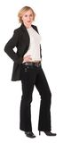Businesswoman #3. Business women in power suit, blacj jacket and white top Stock Photo
