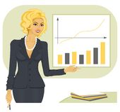 Businesswoman 3. The businesswoman with a smile shows on the schedule and the diagramme Royalty Free Stock Photos