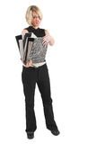 Businesswoman #48. Business woman in black outfit with files royalty free stock photography