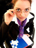 Businesswoman. Portrait of a young business woman. A motion blurred version is also available stock image