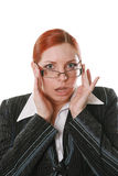 Businesswoman. Nice businesswoman in glasses on a white background royalty free stock photography