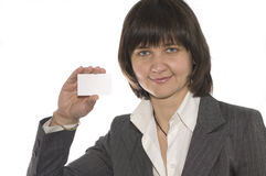 Businesswoman. The young businesswoman hold the card in the hand Stock Photography