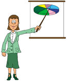 Businesswoman. Business woman pointing at a pie chart Royalty Free Stock Images