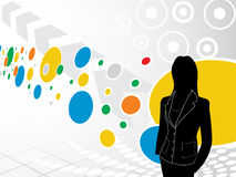 Businesswoman with abstract background Stock Photo