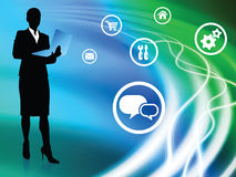 Businesswoman on Abstract Background with Icons. 