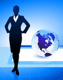 Businesswoman on Abstract Globe Background. 