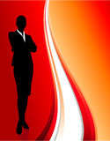 Businesswoman on abstract red background Stock Photos