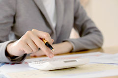 Businesswoman Accountant Or Banker Making Calculations. Sav Stock Images
