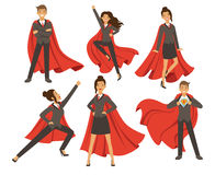 Businesswoman in action poses. Female superhero flying. Vector illustrations in cartoon style. Business woman super hero and person strong leader lady Stock Image