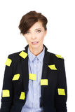 Businesswoman with adhesive cards. Stock Image
