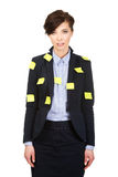 Businesswoman with adhesive cards. Royalty Free Stock Photo