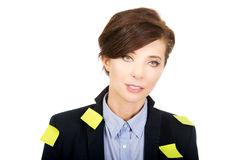 Businesswoman with adhesive cards. Royalty Free Stock Photography