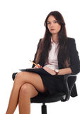 Businesswoman with advisor on office chair Stock Images