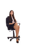 Businesswoman with advisor on office chair Royalty Free Stock Image